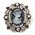 Silver Tone Clear/ Dim Grey Diamante 'Cameo' Brooch - 4.5cm Length