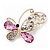 Asymmetrical Pink/Clear Diamante Butterfly Brooch In Gold Finish - 5cm Length - view 2