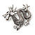 Silver Plated 'Dragon' Brooch - 4.3cm Length - view 3