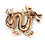 Gold Plated 'Dragon' Brooch - 4.3cm Length - view 5