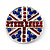 Union Jack Round Silver Plated Crystal Brooch - 4cm Diameter