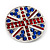 Union Jack Round Silver Plated Crystal Brooch - 4cm Diameter - view 2