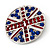 Union Jack Round Silver Plated Crystal Brooch - 4cm Diameter - view 3
