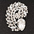 Large Clear Glass 'Feather' Corsage Brooch In Silver Plating