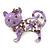 Lilac Crystal Enamel Cat Brooch In Silver Plating - 4.5cm Length