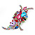 Large 'Hollywood Style' Multicoloured Swarovski Crystal Corsage Brooch In Silver Plating - 12cm Length - view 7