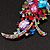 Large 'Hollywood Style' Multicoloured Swarovski Crystal Corsage Brooch In Silver Plating - 12cm Length - view 3
