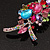 Large 'Hollywood Style' Multicoloured Swarovski Crystal Corsage Brooch In Silver Plating - 12cm Length - view 5