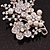 Bridal White Simulated Pearl & Clear Crystal Floral Brooch In Silver Plating - 6.5cm Length - view 3