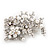 Bridal White Simulated Pearl & Clear Crystal Floral Brooch In Silver Plating - 6.5cm Length - view 2