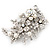Bridal White Simulated Pearl & Clear Crystal Floral Brooch In Silver Plating - 6.5cm Length - view 6