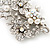 Bridal White Simulated Pearl & Clear Crystal Floral Brooch In Silver Plating - 6.5cm Length - view 7