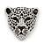 Large Crystal 'Tiger' Brooch In Silver/Black Finish - 5cm Length
