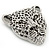 Large Crystal 'Tiger' Brooch In Silver/Black Finish - 5cm Length - view 3