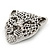 Large Crystal 'Tiger' Brooch In Silver/Black Finish - 5cm Length - view 4