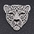 Large Crystal 'Tiger' Brooch In Silver/Black Finish - 5cm Length - view 2