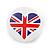 Union Jack Heart Lapel Pin Button Badge - 3cm Diameter - view 2