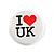 4pcs 'I Heart Love England' Lapel Pin Button Badge - 3cm Diameter - view 3
