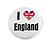 4pcs 'I Heart Love England' Lapel Pin Button Badge - 3cm Diameter - view 2