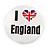 4pcs 'I Heart Love England' Lapel Pin Button Badge - 3cm Diameter - view 8