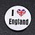 'I Heart Love England' Lapel Pin Button Badge - 3cm Diameter