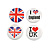 4pcs 'I Heart Love UK' Lapel Pin Button Badge - 3cm Diameter
