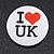'I Heart Love UK' Lapel Pin Button Badge - 3cm Diameter