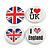 4pcs Union Jack Flag Lapel Pin Button Badge - 4.5cm Diameter