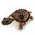 Amethyst/ Deep Purple Swarovski Crystal 'Turtle' Brooch In Gold Metal - 5.5cm Length - view 8