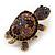 Amethyst/ Deep Purple Swarovski Crystal 'Turtle' Brooch In Gold Metal - 5.5cm Length - view 9