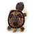 Amethyst/ Deep Purple Swarovski Crystal 'Turtle' Brooch In Gold Metal - 5.5cm Length - view 3
