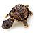 Amethyst/ Deep Purple Swarovski Crystal 'Turtle' Brooch In Gold Metal - 5.5cm Length - view 2
