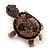 Amethyst/ Deep Purple Swarovski Crystal 'Turtle' Brooch In Gold Metal - 5.5cm Length - view 5