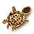 Amethyst/ Deep Purple Swarovski Crystal 'Turtle' Brooch In Gold Metal - 5.5cm Length - view 6