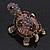 Amethyst/ Deep Purple Swarovski Crystal 'Turtle' Brooch In Gold Metal - 5.5cm Length - view 10
