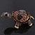 Amethyst/ Deep Purple Swarovski Crystal 'Turtle' Brooch In Gold Metal - 5.5cm Length - view 11