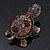 Amethyst/ Deep Purple Swarovski Crystal 'Turtle' Brooch In Gold Metal - 5.5cm Length - view 4