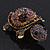 Amethyst/ Deep Purple Swarovski Crystal 'Turtle' Brooch In Gold Metal - 5.5cm Length - view 7