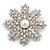 AB Crystal 'Snowflake' Simulated Pearl Brooch In Silver Plating - 6cm Diameter - view 4