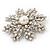 AB Crystal 'Snowflake' Simulated Pearl Brooch In Silver Plating - 6cm Diameter - view 6