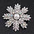 AB Crystal 'Snowflake' Simulated Pearl Brooch In Silver Plating - 6cm Diameter