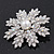 AB Crystal 'Snowflake' Simulated Pearl Brooch In Silver Plating - 6cm Diameter - view 2