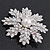 AB Crystal 'Snowflake' Simulated Pearl Brooch In Silver Plating - 6cm Diameter - view 3