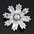AB Crystal 'Snowflake' Simulated Pearl Brooch In Silver Plating - 6cm Diameter - view 5