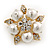 Stunning Bridal Simulated Pearl Crystal Brooch (Snow White & Gold Plated) - 4cm Diameter