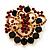 Burgundy Red & Jet-Black Diamante Corsage Brooch In Gold Plating - 5cm Diameter