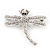 Clear Crystal 'Dragonfly With Simulated Pearl' Brooch In Silver Plated Metal - 6cm Length