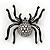 Large Swarovski Crystal 'Spider' Brooch In Black Metal - 6cm Length