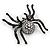 Large Swarovski Crystal 'Spider' Brooch In Black Metal - 6cm Length - view 5