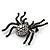 Large Swarovski Crystal 'Spider' Brooch In Black Metal - 6cm Length - view 6